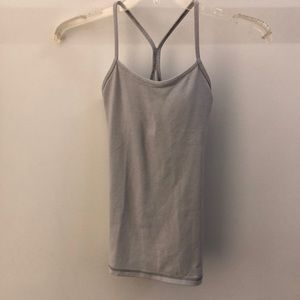Lululemon gray and white power y tank, sz 2, 64858